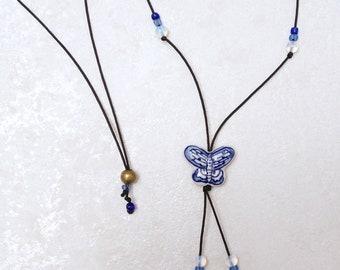 Handmade ceramic necklace, butterfly necklace, butterfly pendant, butterfly jewelry, boho necklace, opalite necklace, craftsman necklace