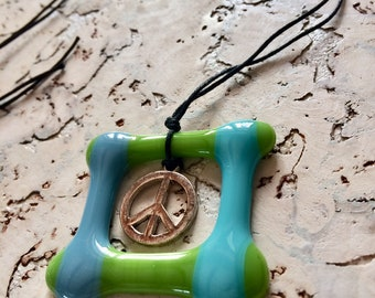 Glass fusing 'Peace' necklace