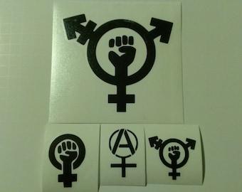 4 Decal set : 1 Large Trans-Feminism + 3 Assorted Feminism Decals. Feminism, Trans-Feminism, & Anarcha Feminist Vinyl Decals