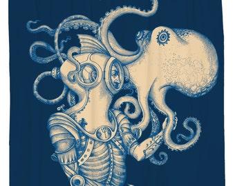 Octopus Shower Curtain, Kraken Bath Decor, Nautical Bathroom Decor, Surreal Beach Theme, Navy Shower Curtain, Waterproof Octopus Bathroom