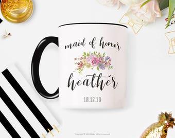 Maid of Honor Mug, Maid of Honor Gift, Bridal Party Gift, Bridesmaid Gift, Wedding Party Gift, Coffee Mug Personalized 9W