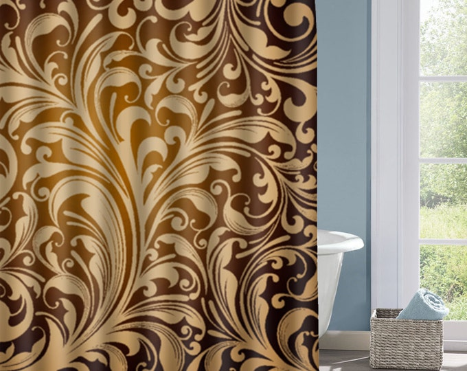 Gradient Floral Bathroom Shower Curtain, Gold and Black Bath Curtain, Custom Polyester Shower Curtain, Custom Shower Curtain, Decorative