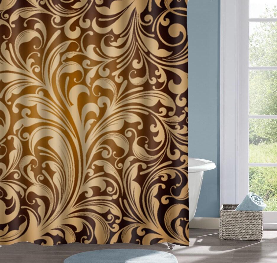 Gradient Floral Bathroom Shower Curtain Gold and Black Bath