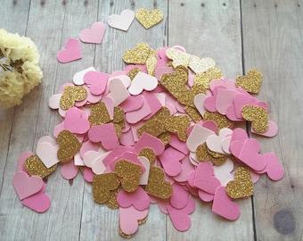 Heart Confetti,Wedding Confetti,Pink and gold confetti,Glitter heart confetti,Pink heart wedding confetti,Bridal shower decor,heart cut outs