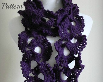SPRING SALE CROCHET Pattern - Queen Anne's Lace Scarf Pattern, Crochet Scarf Pattern, Lace Scarf Pattern