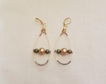Gold wire drop earrings with golden pearls and leverbacks