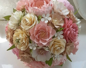 Paper Bouquet - Paper Flower Bouquet - Wedding Bouquet - Country Blush - Custom Made - Any Color