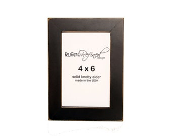 """4x6 1"""" Gallery Picture Frame - Black - Picture Frame, Home Decor, Wedding Favors, Wall Decor, Solid Wood, Handmade, Free Shipping"""
