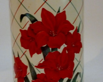 vintage kitchen tin with red flowers and lid