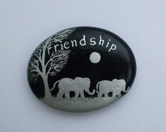 Friendship, Pebble Painting, Elephant Art, Unique Friend Gift, Hand Painted Stone, Friendship Tree Elephant Painting, Rock, Pebble Friends