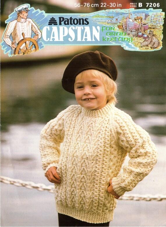 Original 80s childrens aran jumper knitting pattern patons 7206 original 80s childrens aran jumper knitting pattern patons 7206vintage knitting patterns aran knitting childs aran kids aran dt1010fo