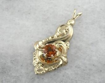 November Sweetheart, Vintage Citrine Gemstone Pendant  28UDJ1-P