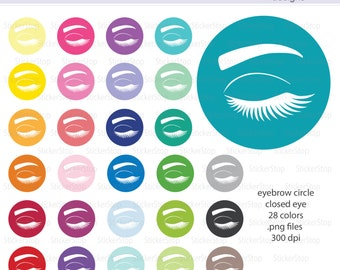 Eyebrow Icon Circle with Closed Eye Digital Clipart in Rainbow Colors - Instant download PNG files - PLUS white icon