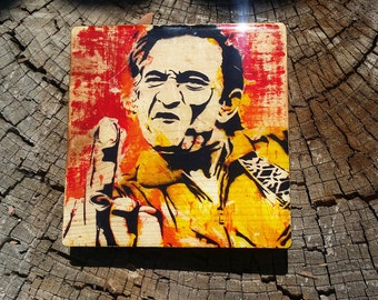 """Johnny Cash - 5.5"""" x 5.5"""" - Hand Crafted Wood Block transfer- Johnny cash nashville country music"""