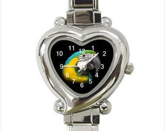 Blue and Gold Macaw Parrot Bird Ladies Women's Heart Italian Watch