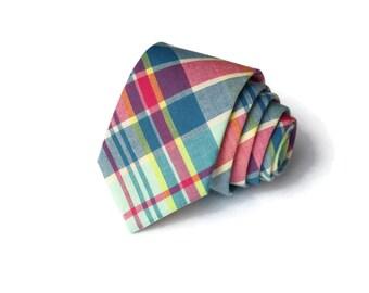 Mint Madras Necktie~Anniversary Gift~Wedding Tie~Boys Necktie~Mens Necktie~Wedding~Mens Tie~Boys Tie~Mint~Blue~Pink