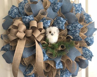 Owl Wreath With Blue Floral and Denim Ribbon
