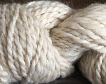 6 oz of Creamy White Natural Alpaca Handspun ; Alpaca hand spun yarn blend, 20% Tencel
