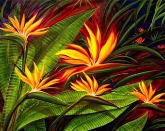 Rober Thomas Giclee -Hawaiian Bird Of Paradise - Hawaii Floral Flowers