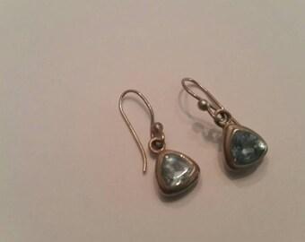 Vintage Sterling Silver Earrings Blue Crystal Dangle 925