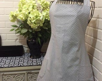 Salon apron gray/with white dots