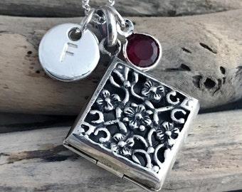 Silver Rectangular Locket Pendant Necklace, Photo Locket,Ornate Locket VAR073