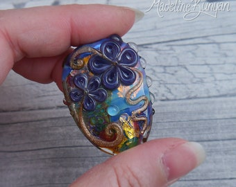 Rainbow Garden, 3D pretty flower Lampwork Focal Bead, rainbow, purple, gold, pendant bead, floral bead, multicoloured