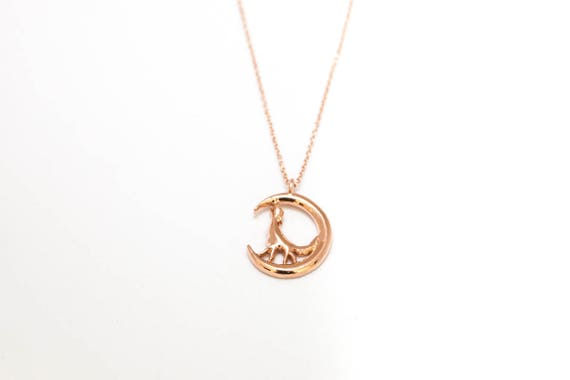 14K Rose Gold Wolf Moon Necklace