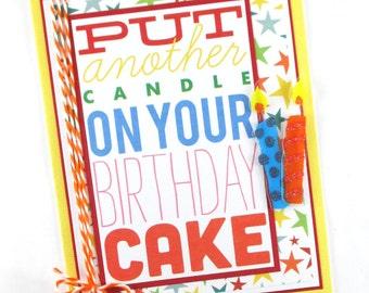 Happy birthday card for kids, adults, boys, girls, birthday candle, handcrafted birthday card