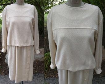Vintage Umba Parnes Feinstein Beige Dress 1970s 70s 1980s 80s