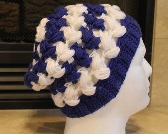White and Blue Crochet Hat