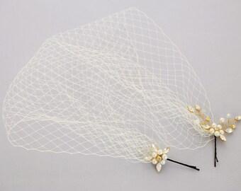 Wedding Veil, Birdcage Veil, Bridal Headpiece, Bandeau veil, Short Veil, Wedding Hair Piece, Wedding Fascinator, Vintage Veil  Headpiece