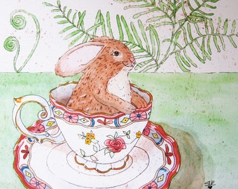 Art Print - Tea Time with Bunny -Tea Cup - Brown Rabbit - Whimsical Wall Art - Art for Her - Wall Decor - Tea Party