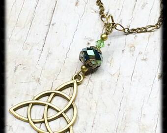 Brass Celtic Necklace-Celtic Jewelry-Celtic Knot Necklace-Celtic Knot Jewelry-Irish Jewelry-Irish Knot-Brass Necklace-Gift For Her-Trinity