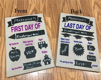 Personalized 8x12 Wooden chalk board First day of School and Last day of School Sign..two sided school sign