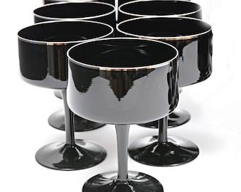 Black Crystal Coupe Champagne Glasses Platinum Silver Rim Lenox Venture