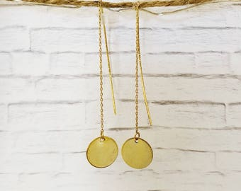 Metal round plate threaded earrings / gift / birthday gift