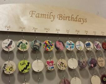Family Birthday wall plaque Birthday reminder wall art