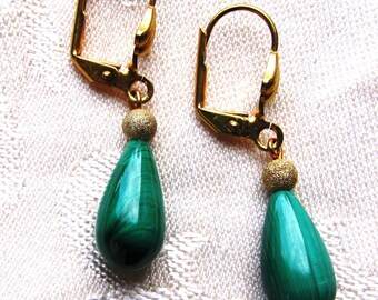 Green Malachite Teardrop Gold Plated Earrings with Gold Filled Stardust Beads