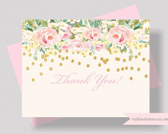 BLUSH PINK and Gold Glitter Thank You Card Watercolor Floral | Bridal Shower Thank You Card | Boxed Set of 10 Shabby Chic Thank You Card