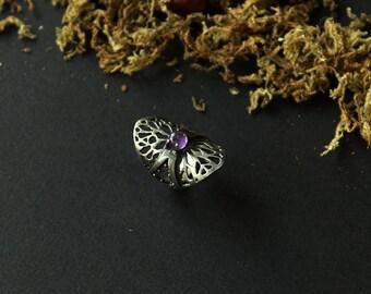Silver boho rings, Amethyst Silver Ring,silver oval ring,silver ethnic jewelry,Silver Rings Women,contemporary silver ring,boho massive ring