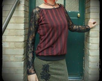 t-shirt long-sleeved top Burgundy, Black Lace top, lace shirt, handmade