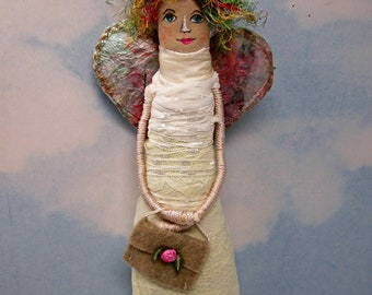 OAAK Celestial  Angel Art Doll / Mixed Media Textile and Papercloth / Handmade Original Gift or Collectible Wall Doll