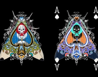 66-Piece Miniprint Set - A6 Prints of all the card art, back design on reverse - Cryptic Cards Playing cards with Moths On