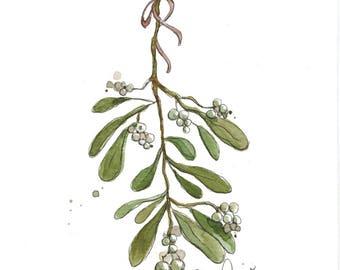 Mistletoe (original watercolor)
