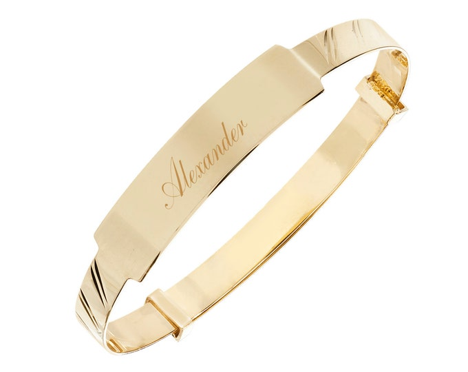 9ct Gold Expandable 4mm Baby Identity Bangle - Personalised Name & Message