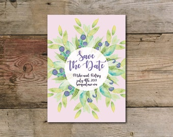 Purple floral and greenery save the date wedding card download / invitations / stationary / PDF
