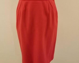 "SALE - Lovely 60s Red Wool Pencil Skirt - 28"" Waist"