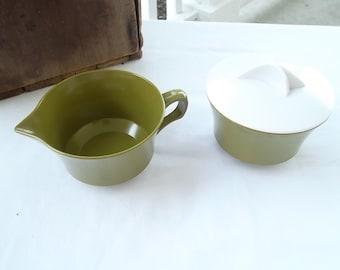 Vintage Olive or Avocado Green Plastic, Creamer and Sugar, Allied Chemical, Melamine, Melmac