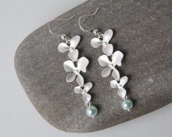 Mint Bridesmaid earrings, silver orchid earrings, mint wedding jewelry, triple orchid earrings, Bridesmaid gift, mint pearl earrings